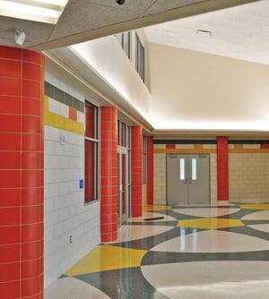 Glazed masonry at Arlene Meraux Elementary