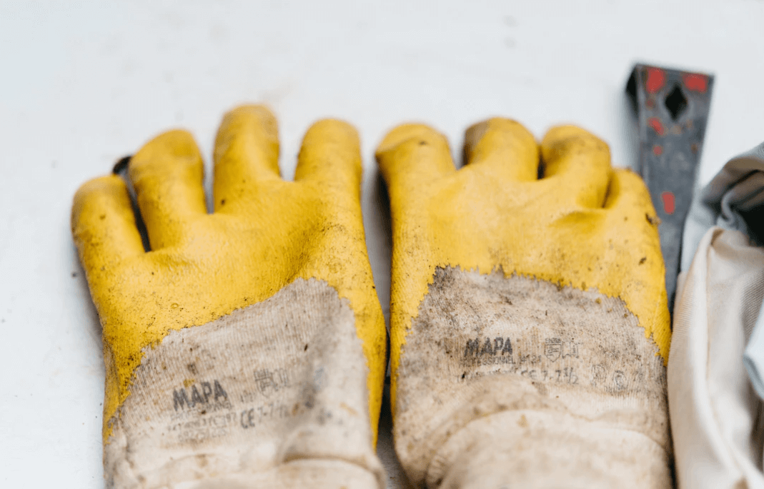 Yellow work gloves