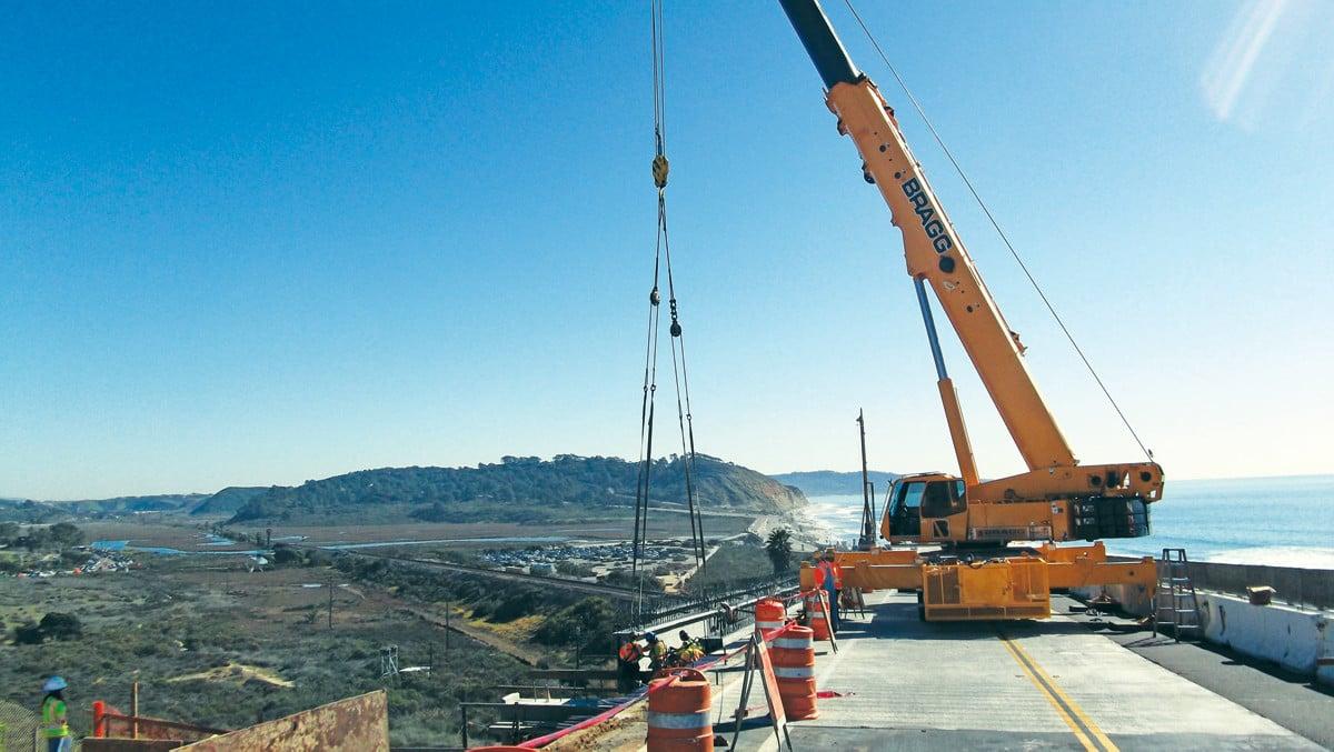 A Crane on the North Torrey Pines Road Bridge